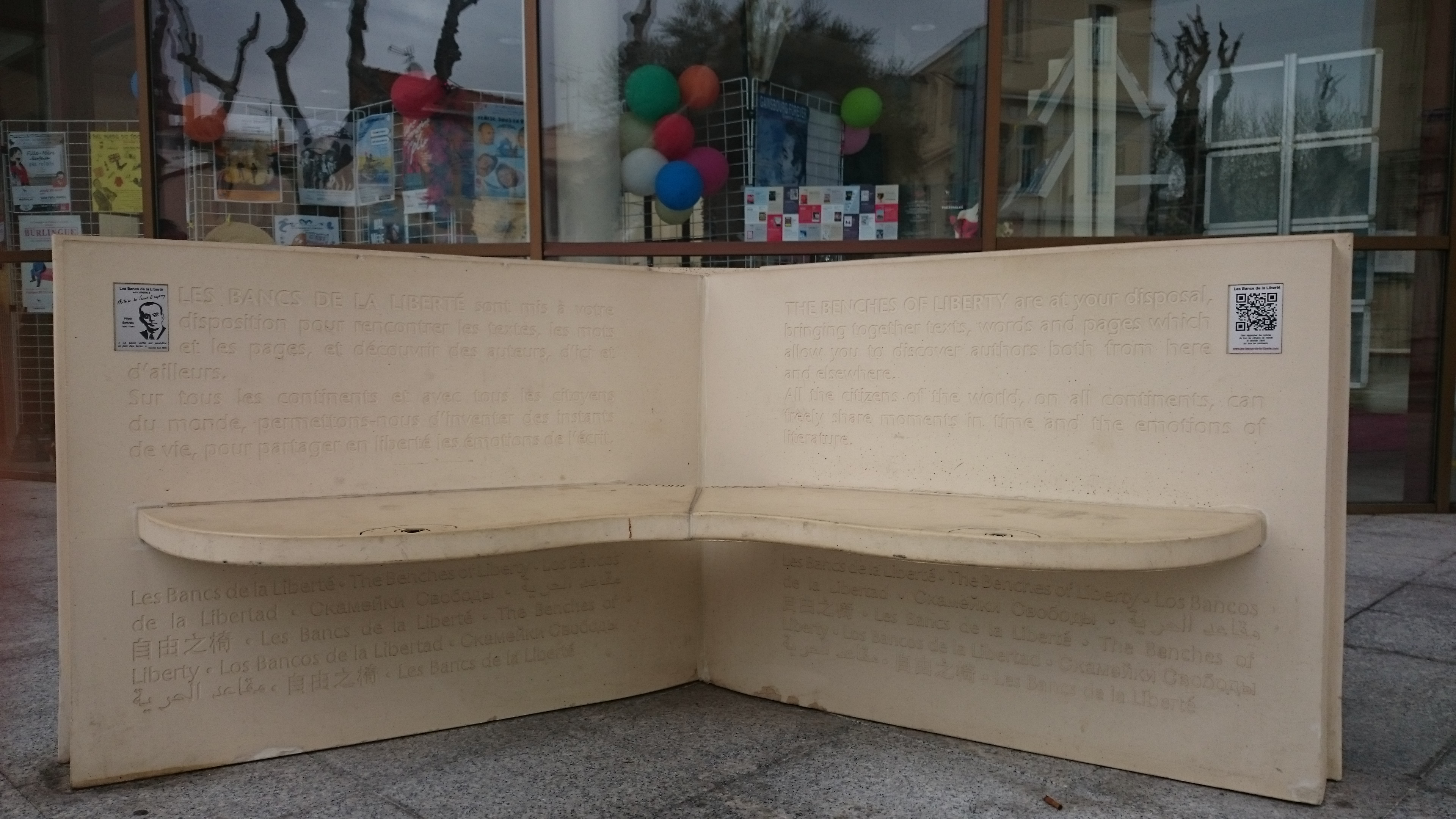 In April, I was on the French Riviera and came across these Bancs de la  liberté. (Benches of Liberty)